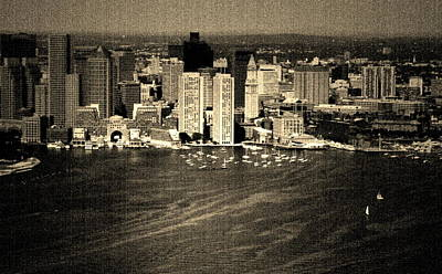 Vintage Style Boston Skyline Art Print