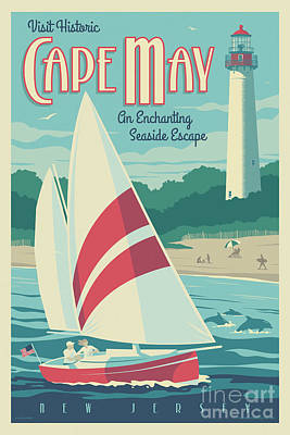 Digital Art - Vintage Style Cape May Lighthouse Travel Poster by Jim Zahniser
