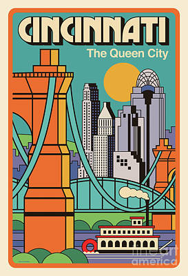 Queen Digital Art - Vintage Style Cincinnati Travel Poster by Jim Zahniser
