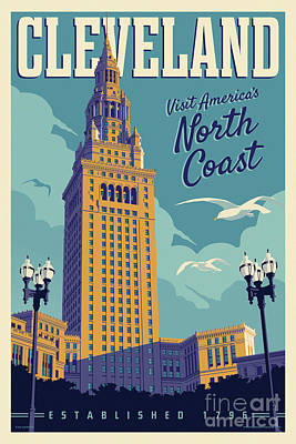 Digital Art - Vintage Style Cleveland Travel Poster - America's North Coast by Jim Zahniser