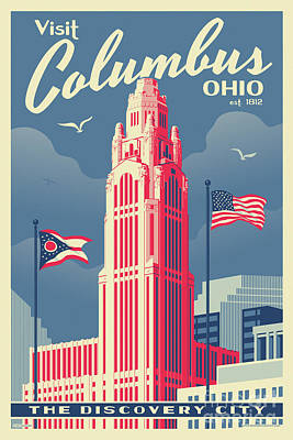Towers Digital Art - Vintage Style Columbus Travel Poster by Jim Zahniser