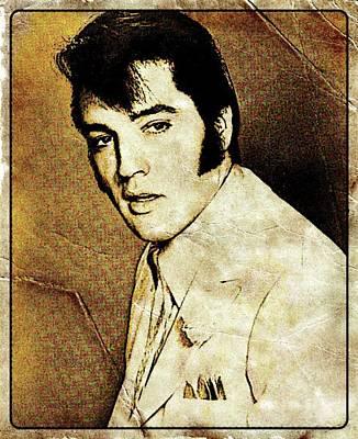 Thriller Digital Art - Vintage Style Elvis Presley by Esoterica Art Agency