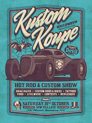 Hot Rod Wall Art - Digital Art - Vintage Style Fictional Halloween Hot Rod Show - Cyan by Ivan Krpan