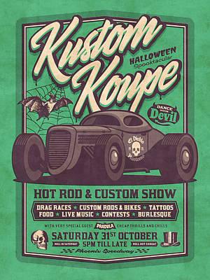 Hot Rod Wall Art - Digital Art - Vintage Style Fictional Halloween Hot Rod Show - Green by Ivan Krpan
