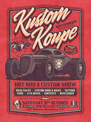 Hot Rods Digital Art - Vintage Style Fictional Halloween Hot Rod Show - Red by Ivan Krpan