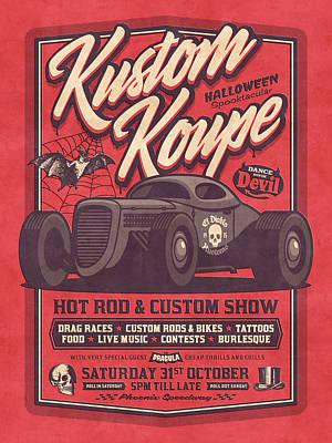 Hot Rod Wall Art - Digital Art - Vintage Style Fictional Halloween Hot Rod Show - Red by Ivan Krpan