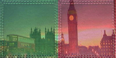 Mixed Media - Vintage Style Wall Decorations London Clock Tower And Double Deckker Bus by Navin Joshi
