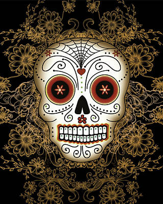 Day Of The Dead Digital Art - Vintage Sugar Skull by Tammy Wetzel