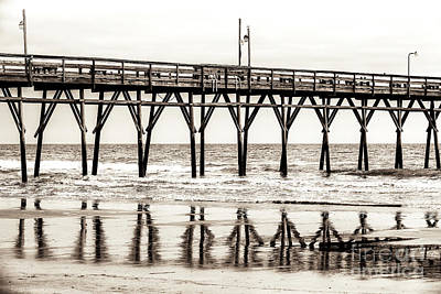 Photograph - Vintage Sunset Beach Pier In North Carolina by John Rizzuto