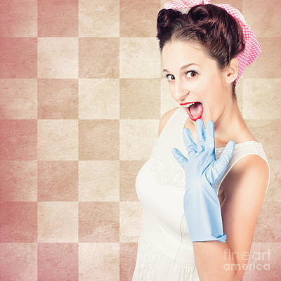 Vintage Surprised Pinup Woman Doing Housework Art Print by Jorgo Photography - Wall Art Gallery