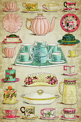 Mixed Media - Vintage Tableware by Delphimages Photo Creations