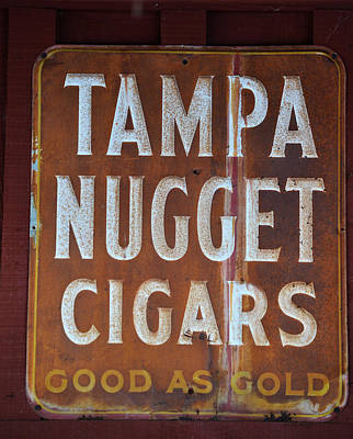 Photograph - Vintage Tampa Nugget Cigar Sign by rd Erickson
