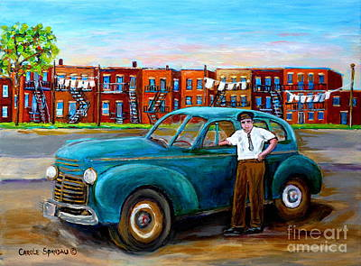 Montreal Memories Painting - Vintage Taxi Cab Painting Montreal Memories Canadian Art Carole Spandau                              by Carole Spandau