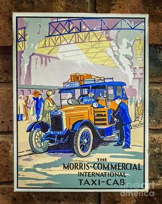 Vintage Car Advert Digital Art - Vintage Taxi Sign by Adrian Evans
