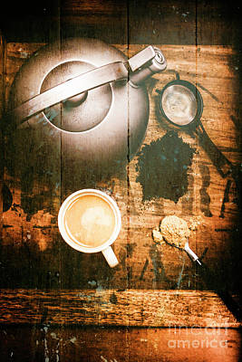 Teapot Photograph - Vintage Tea Crate Cafe Art by Jorgo Photography - Wall Art Gallery