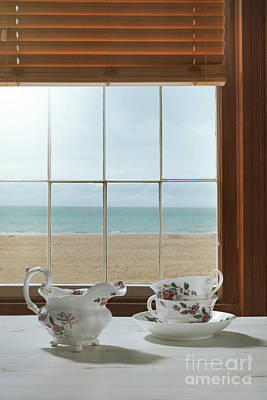 Venetian Blinds Photograph - Vintage Teacups In The Window by Amanda Elwell