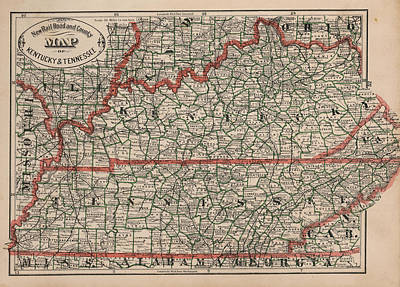 Map Of Tennessee Drawing - Vintage Tennessee And Kentucky Railroad Map - 1883 by CartographyAssociates