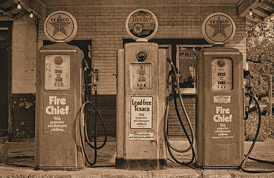 Photograph - Vintage Texaco Gas Pumps Sepia by David King