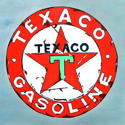 Texaco Sign Painting - Vintage Texaco Sign by Ken Pursley
