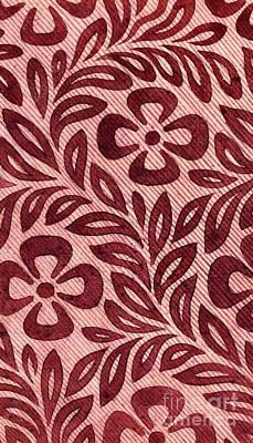 Vintage Textile Design With Flower Motif Art Print by English School