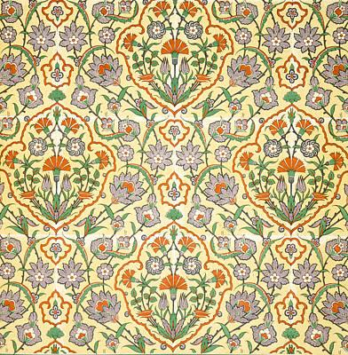 Vines Drawing - Vintage Textile Pattern by Emile Prisse d'Avennes