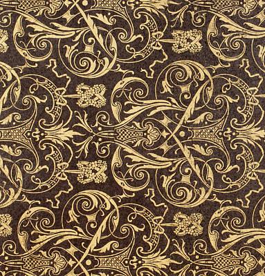 Vintage Textile Pattern Art Print by French School