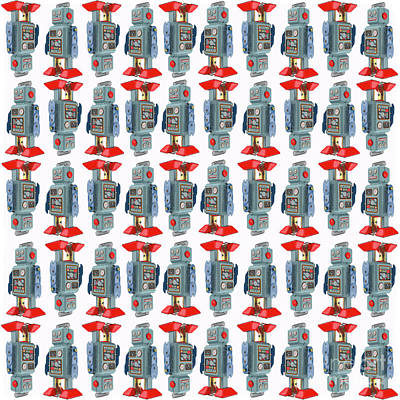 Digital Art - Vintage Toy Tin Robots Pattern by Edward Fielding