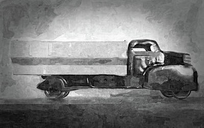 Digital Art - Vintage Toy Truck Bw by David King
