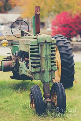 Vintage Tractor Autumn Art Print by Edward Fielding