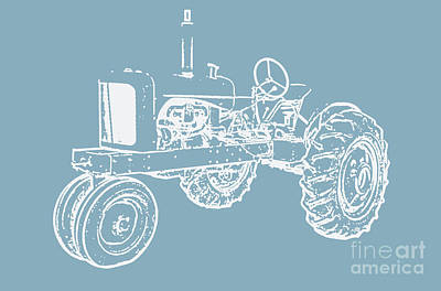 Photograph - Vintage Tractor Blue And White by Edward Fielding