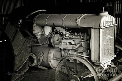 Photograph - Vintage Tractor Bw by Inspirational Photo Creations Audrey Woods