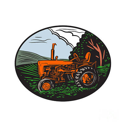 Agriculture Digital Art - Vintage Tractor Farm Woodcut by Aloysius Patrimonio