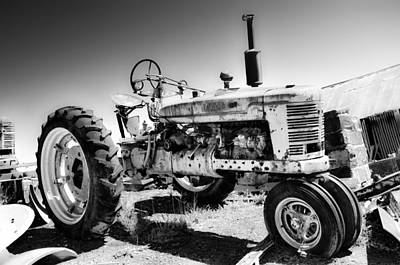 Farm Photograph - Vintage Tractor In Black And White by Bill Cannon