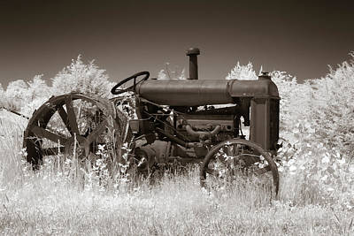Photograph - Vintage Tractor In Sepia by James Barber