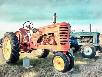 Old Farm Painting - Vintage Tractors Acrylic by Edward Fielding