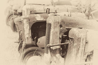 Photograph - Vintage Tractors In Sepia by James Barber