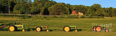 Vintage Tractors Sunset Panoramic Art Print