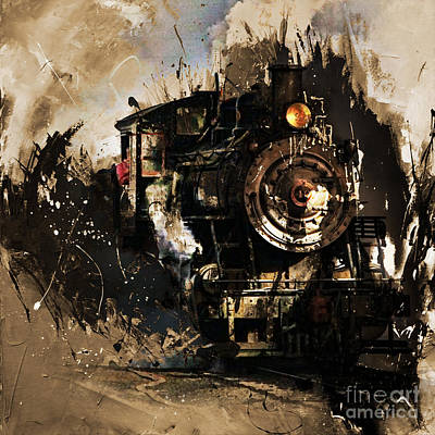 Acrylic Sports Portrait Painting - Vintage Train 06 by Gull G