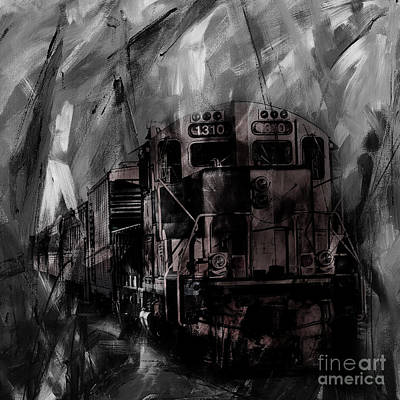Acrylic Sports Portrait Painting - Vintage Train 07 by Gull G