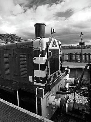 Photograph - Vintage Train Buffers In Black And White by Gill Billington