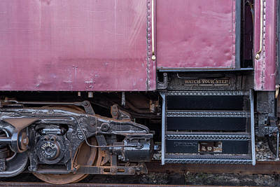 Rivets Photograph - Vintage Train Car Steps by Terry DeLuco