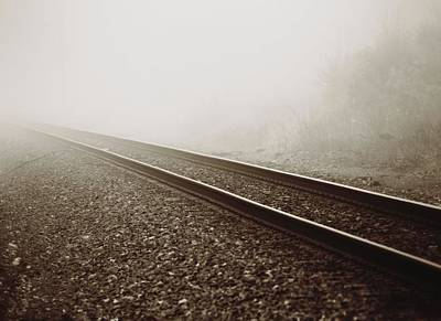 Vintage Train Tracks In Fog Art Print