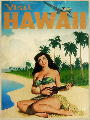 Hula Painting - Vintage Travel Hawaii by Cinema Photography