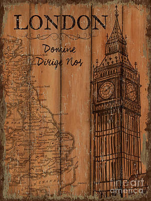 Vintage Map Painting - Vintage Travel London by Debbie DeWitt
