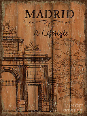 Art Print featuring the painting Vintage Travel Madrid by Debbie DeWitt
