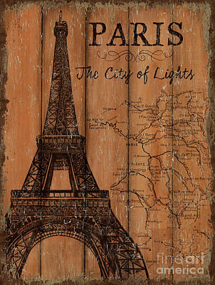 Eiffel Tower Painting - Vintage Travel Paris by Debbie DeWitt