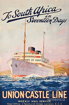 Liner Painting - Vintage Travel Poster Advertising A Cruise To South Africa by Maurice Randall