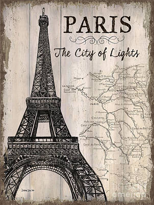 Text Painting - Vintage Travel Poster Paris by Debbie DeWitt