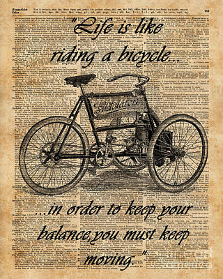 Tapestries - Textiles Mixed Media - Vintage Tricycle Antique Bicycle Motivational Quote Retro Dictionary Art by Jacob Kuch