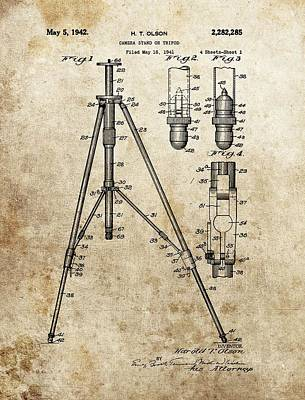 Vintage Camera Drawing - Vintage Tripod Patent by Dan Sproul